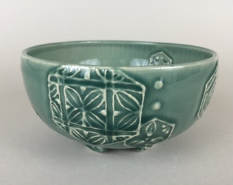 Thrown Bowl - Blue Green Bowl with braided feet - Hexagone patterns