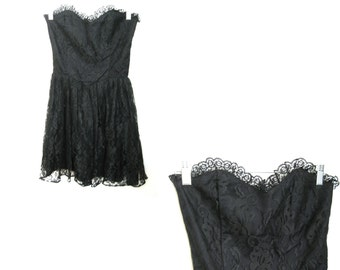 Dress Allover Lace Black Swan Strapless Corset Bodice Size XS