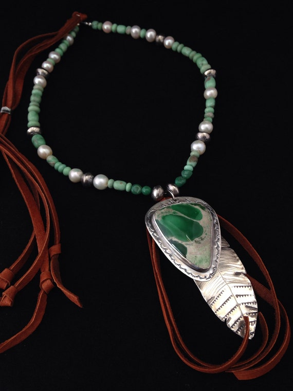 Handmade Jewelry, Southwestern Fashion, Southwest Jewelry, Green Variscite, Pearls, Navajo Pearls, Feather, Boho, Leather Necklace