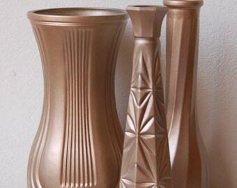 Rose Gold Vases  Soft Gold,Warm Gold, Champagne Gold, Satin Gold Set of 3