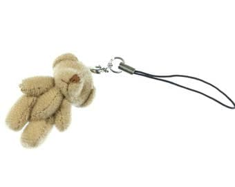 Teddy Bear Mobile Phone Charm Pendant Decoration Miniblings plush bear brown