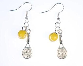 2er Tennis Earrings tennis racket ball Miniblings enameled racket tennis ball