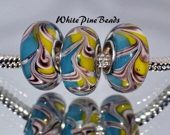 Murano Glass Beads  Blue Yellow  Swirls   fits European  Charm Bracelets WhitePineBeads