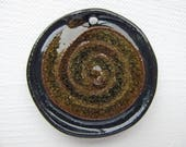 Earth Brown Spiral Pendant Stoneware Clay