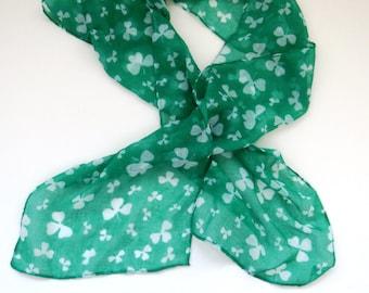 Green White Shamrocks Clover Scarf -  St Patricks Day Irish Long Scarf - Spring Summer Fashions - Womens Accessories Novelty Scarf - Gift
