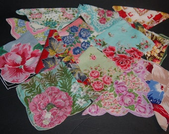 13 Vintage Hankies Vivid Bright Colors Flowers Thirteen Handkerchiefs Beautiful & Unique Lot