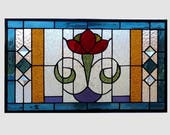 Arts and crafts flower stained glass panel window  craftsman mission style Art Deco stained glass window panel  0232 20 x 11 1/2