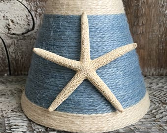 Jute Wrapped Sky Blue with White Trim Starfish Chandelier Lampshade Custom Order Only