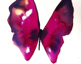 bright magenta purple pink black butterfly original watercolour painting 7 x 5""