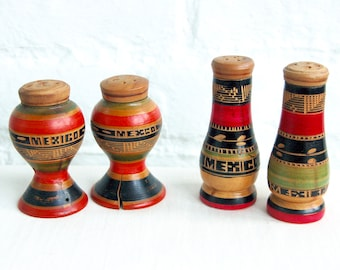 Vintage Salt and Pepper Shakers Mexican Hand Carved Wooden Folk Art Souvenir Two Sets of Two