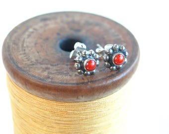 Red Coral Stud Earrings Vintage Tiny Flower Posts Southwestern Jewelry Gift for Her