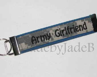 Army Girlfriend FLAT Key Fob In Black and Blue, Black and ACU / READY to ship