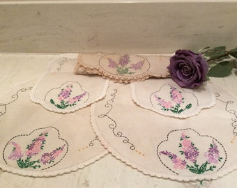 Vintage Linen Embroidered Bedroom Bureau Scarf Set Purple Lilacs with Crocheted Edging, Vintage Embroidered Linens