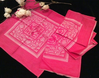 Vintage Christmas Red and Silver Jacquard Luncheon Napkins, Vintage Holiday Napkins, Vintage Linens