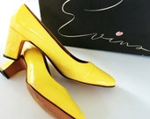 Yellow Patent Leather Pumps// MOD Heels by Evins // Size 7.5 AAA narrow SHOES