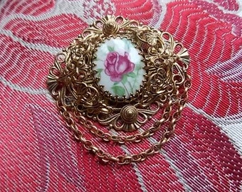 Vintage Czech Roses Hand painted  Brooch Pin - GORGEOUS