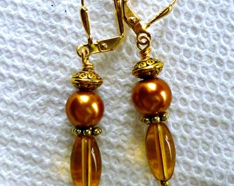 Amber & rose pearl drop earrings, lever back or French hook, fashion earrings, gifts for her,  drop earrings