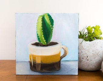 Small Succulent Painting, Vintage Coffee Mug Painting, 6x6 Oil Painting, 70s Coffee Mug Art, Succulent Art, Small Painting, Gifts Under 50