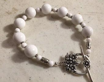 White Bracelet - Jade Jewelry - Gemstone Jewellery - Sterling Silver - Fashion