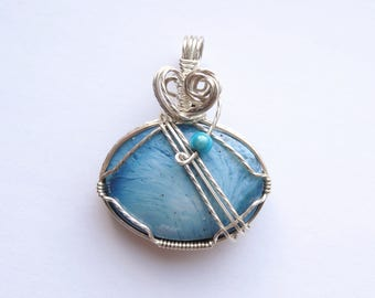 Rare Blue Sweden Handcrafted Wire Wrapped Pendant