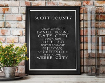 Scott County, VA Hometown Subway Art Print With Your Last Name, Hometown - Ready to Hang - 11 by 14 inches