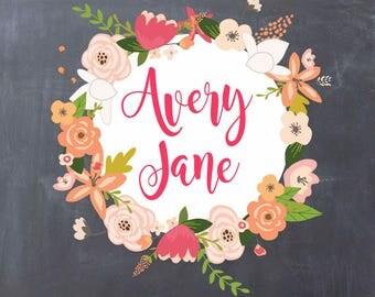 Customized Name Blanket, Photography Prop, Swaddle, Lightweight blanket, newborn preemie, unisex baby boy baby girl, Blackboard, Floral