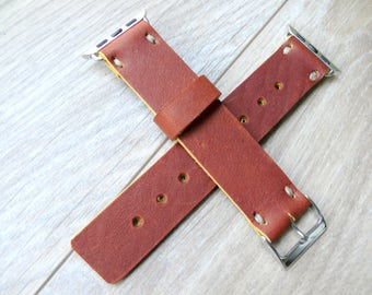 Rust Brown Leather Apple Watch band 42mm leather watch band, Apple watch strap, iwatch band, apple watch leather band, apple watch strap