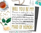Will You Be My Maid of Honor Card, Gold Glitter Bridesmaid Proposal Card, Princess in Waiting, PRINTABLE DIGITAL FILE by Event Printables