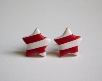 Red and White Striped Star Stud Earrings, polymer clay jewelry