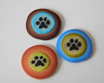 Polymer Clay Refrigerator Magnets, paw print kitchen magnets, set of 3