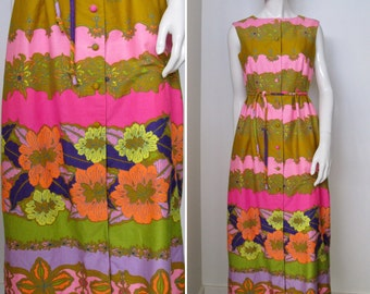 Vintage 1960s Alex Colman Floral Print Maxi Dress in Tropical Colors