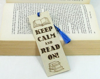 Wood Bookmark. Wood Pyrography. Keep Calm. Book Quote. Funny Quote. Teacher Gift. Book Lover. Unique Bookmark. Book Bag. Library.