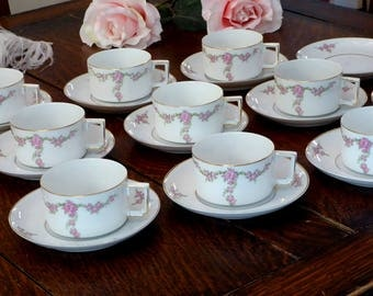 Rosalinda Flat 9 Cups & 11 Saucers by Heinrich - HC Imperial Selb Bavaria