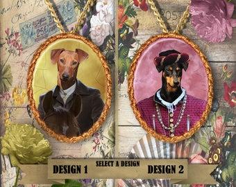 German Pinscher Jewelry. Pinscher Pendant or Brooch. Pinscher Necklace. Pinscher Portrait. Custom Dog Jewelry.Handmade Jewelry
