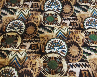 "Clay and Straw Pottery 100% Cotton Aztec Navajo Native American African Southwestern Indigenous Boho Tribal Fabric By the Yard 45"" Width"
