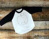 Apple Kawaii Raglan, onesie® or shirt / Toddler shirt, Toddler girl, Infant Shirt,Baby shirt, Graphic Tee, Kids fashion, Funny quote