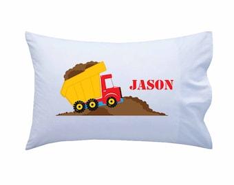 Kids Personalized Pillowcase, Dump Truck Pillowcase, Standard Personalized Pillowcase, Personalized Gift, Boys Gift, Girls Gift