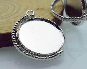 5 pcs 25mm Silver White Color Cameo Cabochon Base Setting Tray Blanks Pendants Charm Pendant C8373