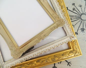 Shabby Chic Picture Frames Metal Picture Frame White Picture Frame Gold Frame Cottage Chic Decor
