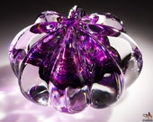 Hand Crafted Glass Paperweight - Ribbed Clear Crystal with Bright Purple