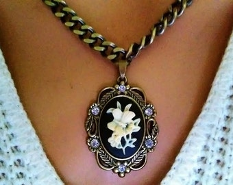 Cameo Ceramic Flower White Crystal Brass Copper Etched Necklace