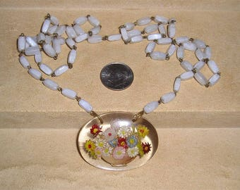Vintage Goofus Glass Flower Bouquet Pull Over Milk White Glass Necklace 1920's Jewelry H54