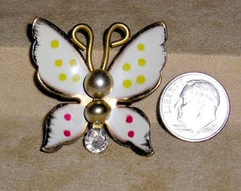 Vintage Coro Enamel Polka Dotted Butterfly Pin With faux pearls and Clear Rhinestone 1940's Signed Jewelry 11031