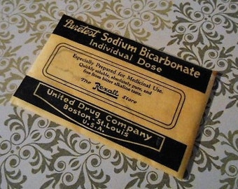 1920s Puretest Sodium Bicarbonate Indigestion Pack NOS Pharmacy Apothecary Old Stock