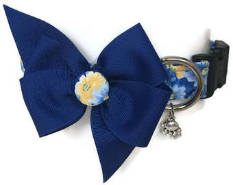 Blue and Yellow Floral Dog Collar size Extra Large
