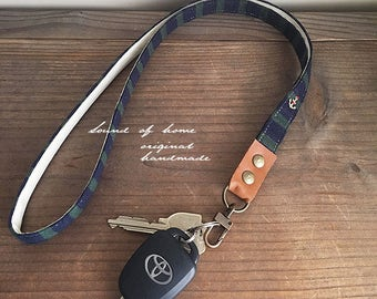 Nautical navy x green anchor unisex leather keychain key holder lanyard gift idea Japan zakka