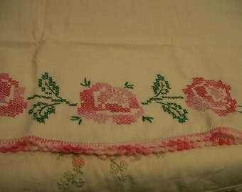Vintage Embroidered Pillowcase Single Standard Size Pink Rose Cross Stitched Pillow Case