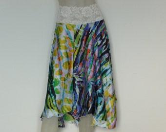 SALE Satin asymmetric Circle Skirt Argentine Tango  Skirt Size US 4 and 6 / EU 34 and 36 Milonga Dance Wear Tango adorable Jupe