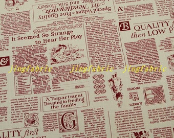 L325A - 138cmx100cm Ripstop Cotton Linen Fabric - Newspaper - Red