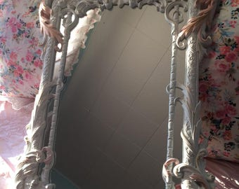 Ornate Rare vintage wall mirror  in white and blush pink